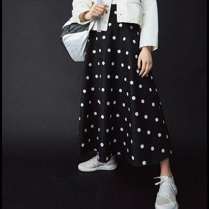 Moussy polka dot full skirt black white